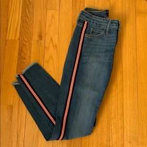 Just Black Skinny Jeans with red stripe detail